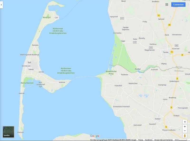 Sylt plan de l'île
